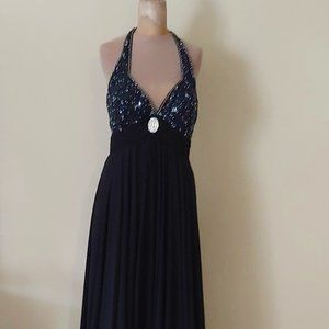 NWOT Black Halter Top Long Gown by WOW Style #8034